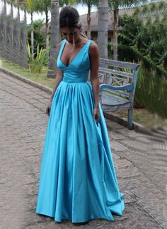 Sexy V-neckline Evening Dresses,Blue Backless Formal Dress,Prom Dresses