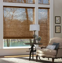 window treatments for large windows with natural material shades - Google Search