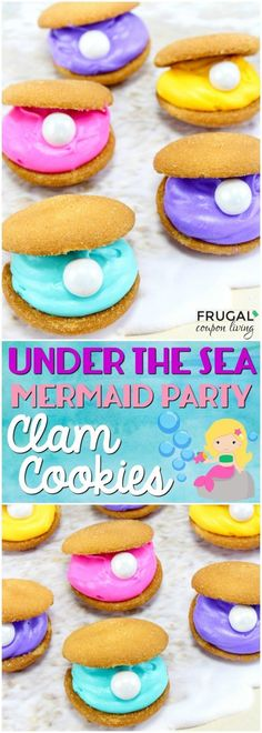 Hosting a mermaid party? How about something under the sea? We love these fun to make Mermaid Party Clam Cookies. An easy kids food craft! Kids Food Crafts, Edible Crafts, Edible Art, Preschool Crafts, Camping Party Foods, Mermaid Party Food, Mermaid Pool, Summer Camp Crafts, Mermaid Crafts