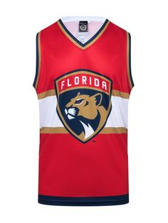 """Get ready to rock your Florida Panthers Hockey Tank all year round!  This NHL officially licensed, light-weight polyester tank top is perfect to wear any time the sun is out.  The perfect top to rock on any nice day in Florida. #GoPanthers  Officially licensed product of the NHL by Calhoun 100% Polyester 100% Machine Wash Safe Official NHL team colors and logos Fits like a """"hockey basketball jersey"""" Panthers Hockey, Florida Panthers, Basketball Jersey, Nhl, Tank Tops, Tanks, How To Wear, Rock, Logos"""