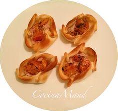 Cocina Maud: Mini tartas de jamon, tomate y albahaca
