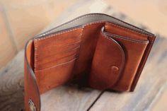 受注制作品 M.wallet 手染めキャメルブラウン、ハンドメイド ブラスボタン