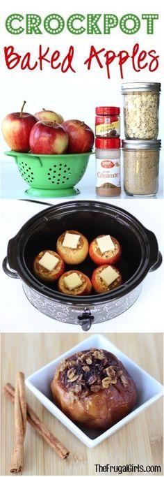 Crockpot Baked Apples Recipe! {Just 6 Ingredients} - The Frugal Girls Slow Cooker Desserts, Crock Pot Desserts, Slow Cooker Recipes, Cooking Recipes, Crock Pot Food, Crockpot Dishes, Crock Pot Slow Cooker, Slow Cooker Apples, Apple Crisp Recipes