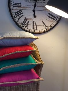Cushions 45 x 45cm Bright colour, jute edging. #helloblueflamingo #flamingo #cushion