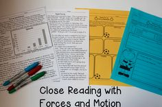 Force and Motion Reading Comprehension Passages and Close Reading Activities - Includes written response, comprehension questions, character traits, main idea, story mapping!
