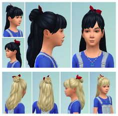 GirlyBun with Bow at Birksches Sims Blog via Sims 4 Updates