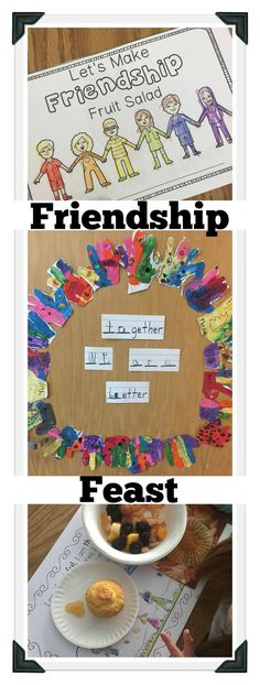 The focus of our Friendship Feast is on unity and friendship during November and the Thanksgiving season. Find ideas and activities including making a friendship fruit salad, making a printable book, learning about circles as symbols of unity and creati Friendship Theme Preschool, Teaching Friendship, Friendship Crafts, Friendship Party, Friendship Salad, Friend Activities, Art Therapy Activities, Preschool Activities, Circle Crafts Preschool