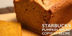 Starbucks Pumpkin Bread Recipe Copycat - Better than Starbucks! Moist, tender, and loaded with pumpkin fall flavors. Make from scratch at home. Starbucks Pumpkin Bread, Pumpkin Spice Latte, Spiced Pumpkin, Copycat Recipes, Bread Recipes, Pumpkin Biscotti, Pumpkin Pound Cake, Pumpkin Cakes, Smoked Chicken Wings