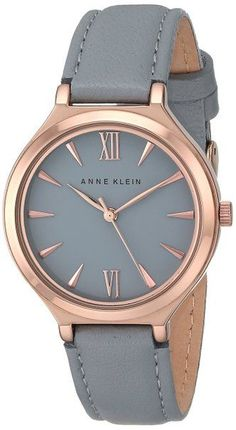 Anne Klein Women's AK/1846RGGY Rose Gold-Tone and Grey Leather Strap Watch