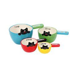 New Feline Kitchen Chef Black Cat Kitten Kitty 4 piece Measuring Spoons Set MIB