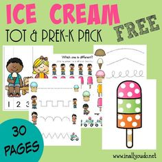 Summer is the perfect time to study Ice Cream! Grab this fun Tot & PreK-K pack for your little ones! 30 total pages #hstips4moms :: www.inallyoudo.net