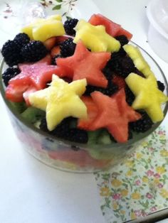 fitplumeria:    Made more fruit salad! Cuter with star shape cut outs, haha.  Watermelon, pineapple, blueberries, blackberries, kiwi, strawberry.    damn this looks so good right now