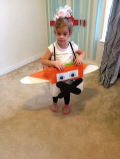 DIY airplane costume I made for my daughter.  #planes #diy #airplanecostume #costume #halloween