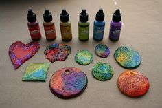 Alcohol Ink on Polymer Clay Embossed Pendant Tiles***Research for possible future project.