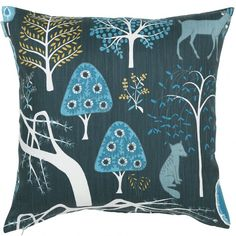 Blue Sagoskog Cushion  : Scandinavian cool meets Japanese fairytale forest - Spira of Sweden's blue Sagoskog cushion transports you straight into the heart of an oriental woodland.  This pretty cushion features Sika deer and Kitsune foxes nestled amongst weeping larch and blossom-laden trees. What's not to love!  With a colour palette of stormy blue-grey, mustard, and watery hues, this is one cushion that simply brings joy.
