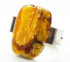 BALTIC AMBER BRACELET sterling silver massive raw