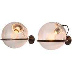 Gino Sarfatti Two Globe Wall Lights for Arteluce