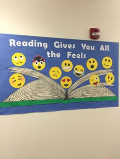 Reading gives you all the f… Whitefish Bay Public Library bulletin board/display. Reading gives you all the feels! Reading Bulletin Boards, Bulletin Board Display, Classroom Bulletin Boards, Classroom Decor, English Bulletin Boards, Preschool Bulletin, School Library Displays, Middle School Libraries, Elementary Library Decorations