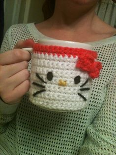 Handmade Crochet Hello Kitty Coffee Mug Cozy