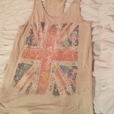 Tank top Tan with multi color rebel flag studded with gold beads Tops Tank Tops