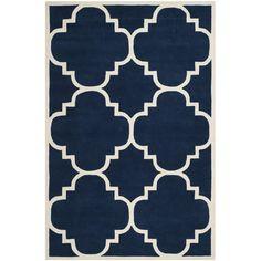 Audrey Handmade Wool Rug in Dark Blue