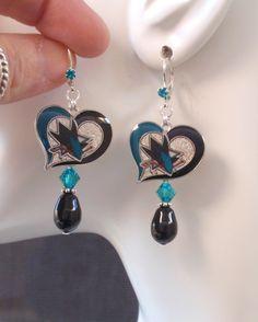 San Jose Sharks Earrings Black Pearl Teal Crystal Dangle Earrings Pro Hockey SJ Sharks Jewelry Bling Accessory Fanwear