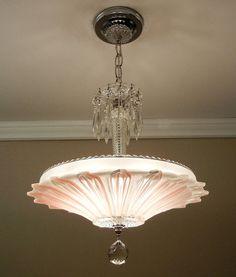 Vintage Art Deco SUNFLOWER Chandelier 1940's Chrome & Rose/Pink Petal Glass Ceiling Light Fixture Rewired