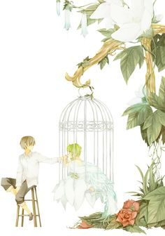 Birdcages are a motif often associated with discomfort, isolation, and loneliness. Character Concept, Concept Art, Manga Anime, Anime Art, Painting Of Girl, Girl Paintings, Top 5, Art Graphique, Mobile Wallpaper