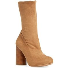 """Jeffrey Campbell 'Sequel' Mid Calf Boot, 3 3/4"""" heel (210 CAD) ❤ liked on Polyvore featuring shoes, boots, ankle boots, camel stretch suede, mid-calf boots, platform bootie, suede boots, short suede boots and suede platform boots"""