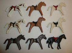 Playmobil Parts + Pieces Lot - 9 Various Horses w/ Some Saddles - White Black #PLAYMOBIL