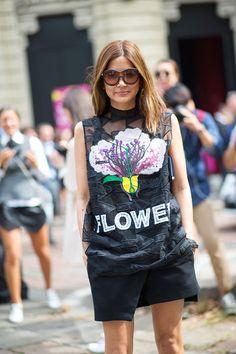 flower t-shirt! Milan Street Style