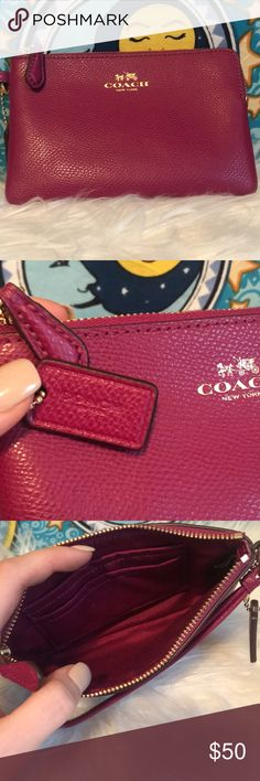 Magenta Coach Wallet NWOT! never used coach zip up wallet! Make an offer, im flexible!!  -thank you!! xx Coach Bags Wallets