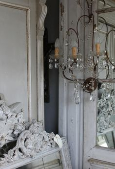 salvage mirrors and a chandelier...