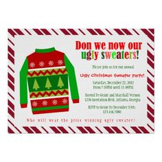 22 Best Ugly Christmas Sweater Party Invitations Images On Pinterest
