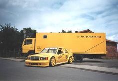 The romanticism and aesthetic of motorsport. Mercedes Sport, Mercedes Benz Classes, Mercedes Benz 190e, M Benz, Sport Cars, Race Cars, 68 Ford Mustang, Mercedez Benz, Yellow Car