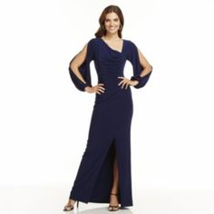 Chaps+Solid+Ruched+Evening+Gown+-+Women's