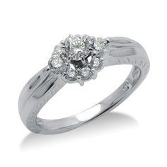 Dazzling Round Cut Diamond Promise Ring In 14K White Gold    $1,316.00 Diamond Promise Rings, Round Cut Diamond, White Gold, Engagement Rings, Big, Jewelry, Enagement Rings, Jewels, Schmuck