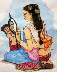 Mother Parvati with two Murugan and Ganesha Durga Maa Paintings, Lord Ganesha Paintings, Indian Art Paintings, Saraswati Goddess, Kali Goddess, Goddess Art, Shiva Art, Ganesha Art, Krishna Art