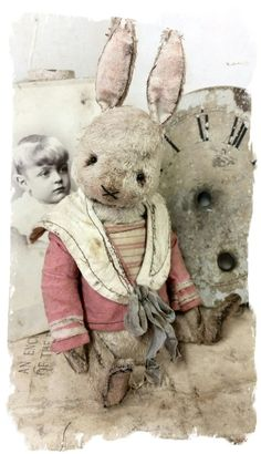 Image of Shabby Cream Sailor Rabbit Antique Style - in pink&cream sailor top * By Whendi's Bears Old Teddy Bears, Vintage Teddy Bears, Ours Boyds, Let Them Be Little, Let It Be, Old Jewelry Crafts, Teddy Toys, Rabbit Art, Fabric Toys