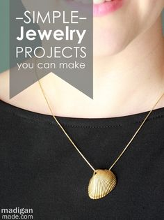 DIY jewelry. Luv the paper and paper clips bracelet, painting the shell gold necklace, and the faux stacked bracelet!