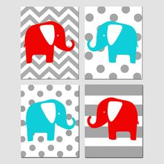 Elephant Nursery Art Quad Set of Four 8x10 Prints by Tessyla
