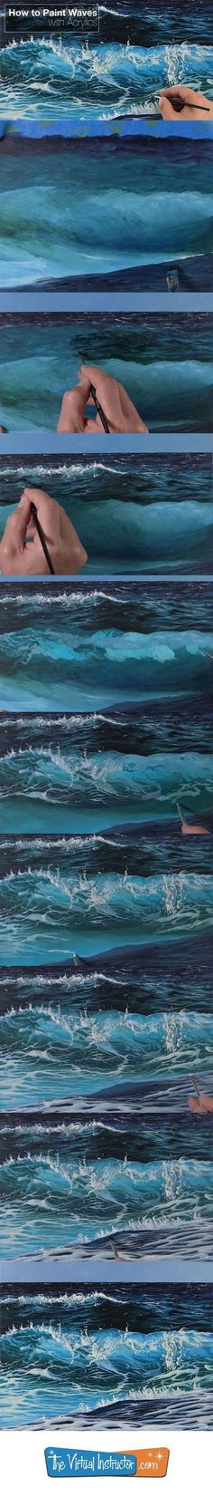 How to paint waves with acrylic paints acrylics acrylicpaint paintinglessons painting wavesHow to paint waves with acrylic paints. – meral yuksek – Join the world of pinDrop Shipping Women S FashionNew Painting Acrylic Tutorial Water 47 Ideas Acrylic Painting For Beginners, Acrylic Painting Lessons, Beginner Painting, Painting Videos, Painting Art, Abstract Paintings, Oil Paintings, Painting Abstract, No Wave
