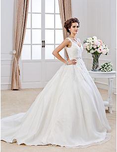 V-neck Chapel Train Organza Wedding Dress