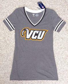 NEW XS-Women VCU RAMS V-NECK T-SHIRT Gray SlimFit Layered-V-Neck Vtg-Look Stripe #UniversityT #VCURams