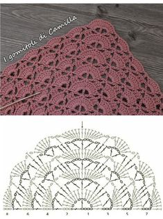 Half circle lace for crochet purse Half circle lace for croch. Half circle lace for crochet purse Half circle lace for crochet purse Crochet Diagram, Crochet Chart, Crochet Motif, Crochet Lace, Crochet Stitches, Crochet Patterns, Poncho Crochet, Crochet Scarves, Crochet Triangle