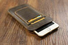 La mano cosió vintage cuero angustiados iphone 6 6 PLUS manga