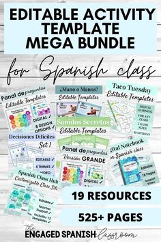 This bundle of 19 editable resources is a must have for any level of Spanish class! These activities are designed to help you bring fun and engagement into your Spanish classes year after year. There are over 525 editable pages in this bundle, filled with a healthy mix of digital and hands on games and activities that your students will love! Everything is editable so you can customize to meet the needs of your middle and high school Spanish students. Click through to see more! Spanish Activities, Teaching Spanish, Writing Activities, Spanish Games, Spanish Classroom, Fun Learning Games, Class Games, Study Spanish, How To Speak Spanish