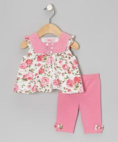 Take a look at this Pink Square-Neck Tunic & Leggings - Infant & Toddler by Beetlejuice London on #zulily today!