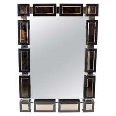 Bold and Magnificent Mid-Century Modernist Mirror with Black Mirrored Border