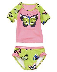 Bright butterfly rash guard plus ruffle bikini bottom.